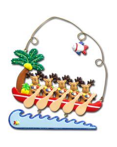 145: REINDEER IN CANOE 5 W/ FISH CHARM