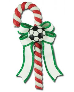 CL296: SOCCER BALL CANDY CANE