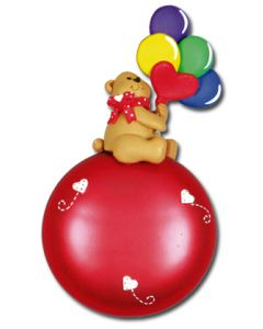 CL338: GIRL BALLOON BEAR - RED GLASS BALL